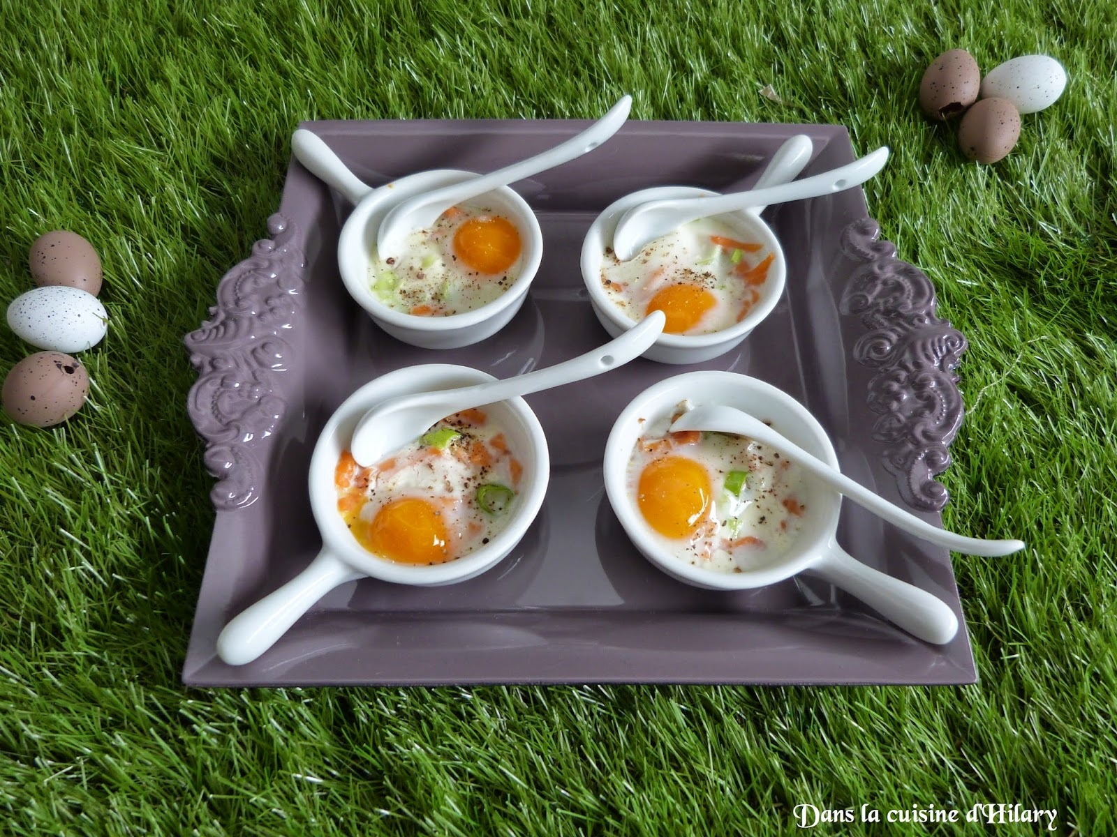 Oeufs de caille cocotte au saumon fumé / Quail egg casserole with smoked salmon