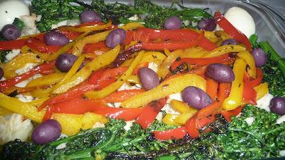 Bacalhau com vegetais e legumes no azeite