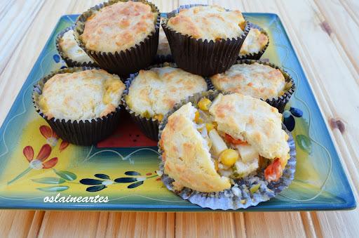Muffins Salgados com Recheio Cremoso de Palmito