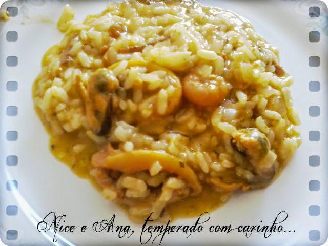 risoto de camarão com mexilhão e lula