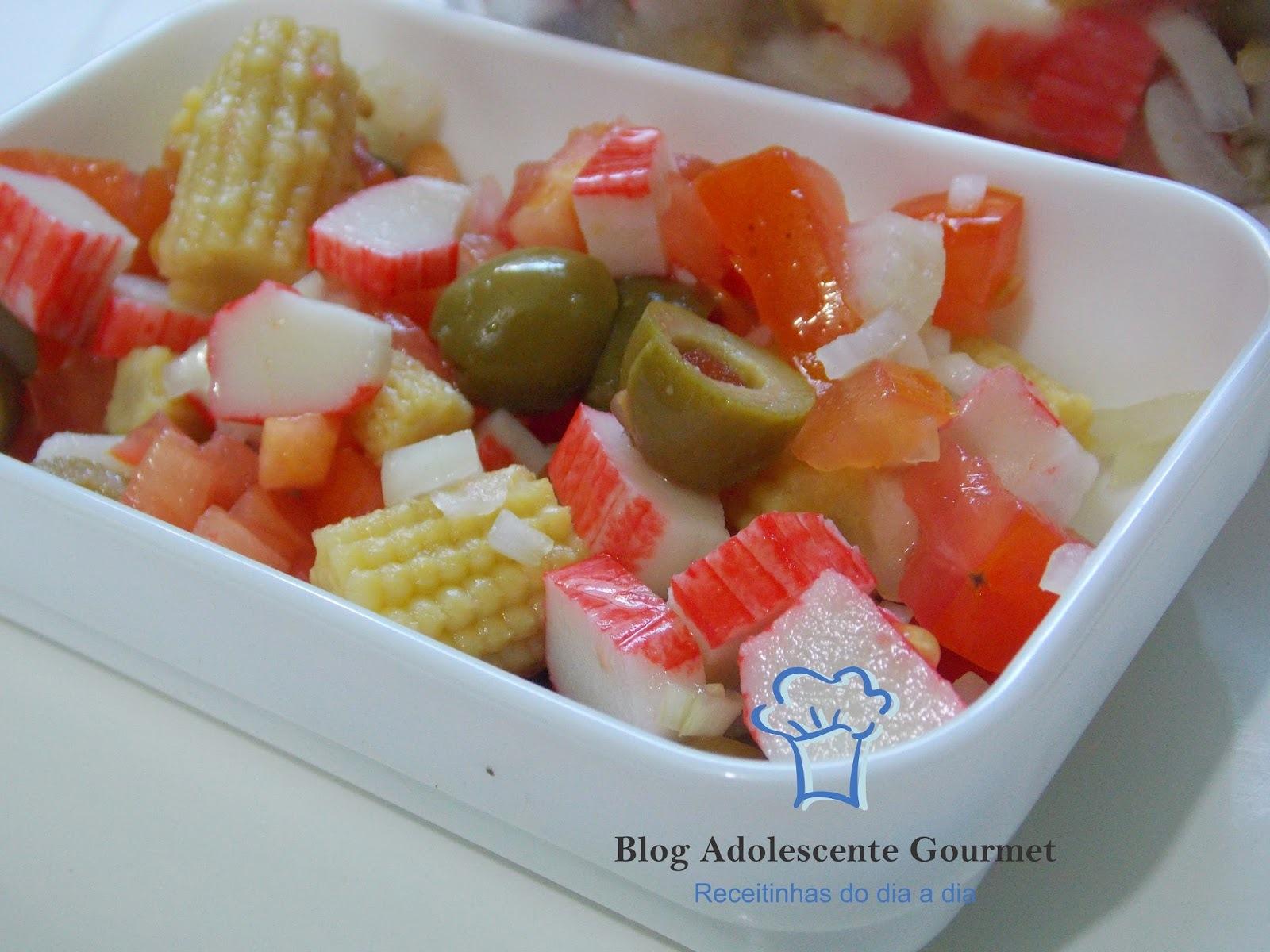 salada de marmita com kani e  mini milho