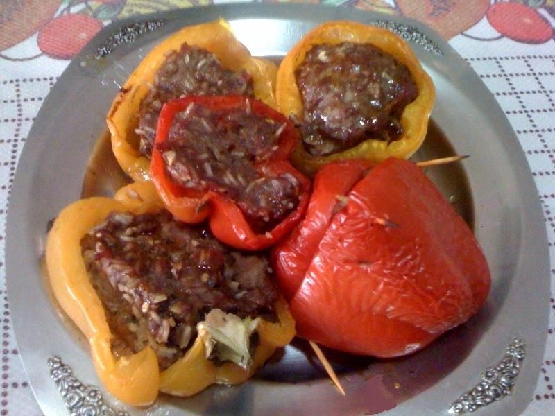 Pimentões Assados com Carne Moída