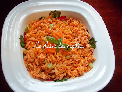 Salade de carottes aux raisins et vinaigrette à l'orange