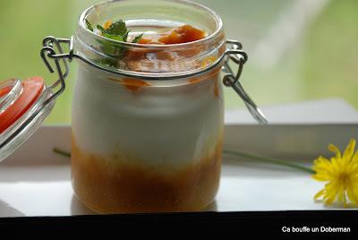 Yaourt à la purée de Prunes et compote d'Abricots