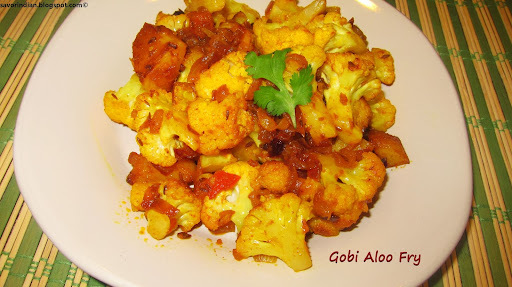 Gobi Aloo Fry Recipe (Cauliflower with Potato Recipe)