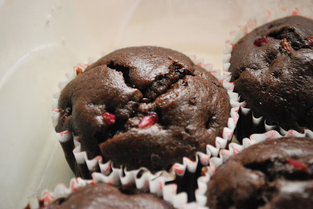 Eggless Chocolate Banana cup cakes with Pomegranate