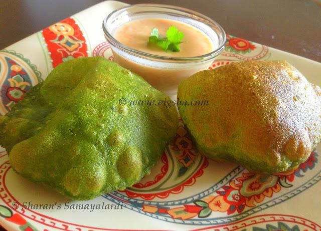 Keerai Poori ~ Spinach / Palak Poori