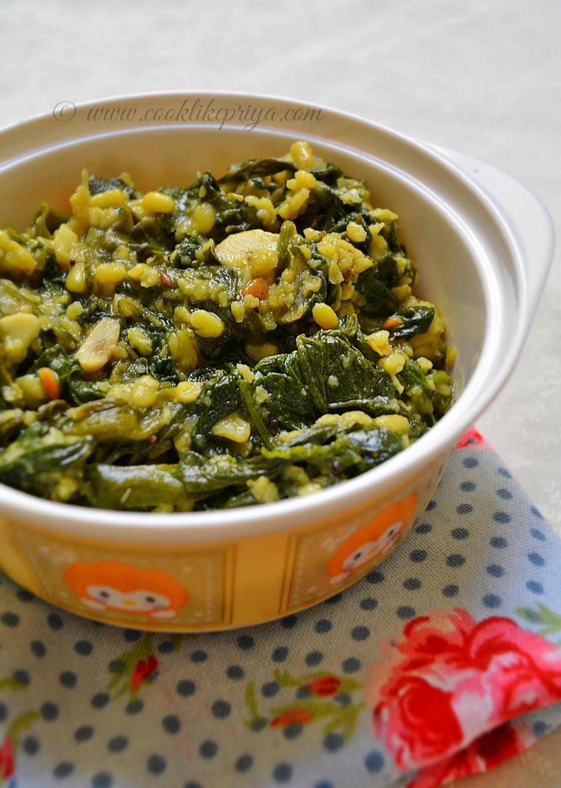 Paruppu Keerai Poriyal | Spinach Greens Stir Fry with home grown greens