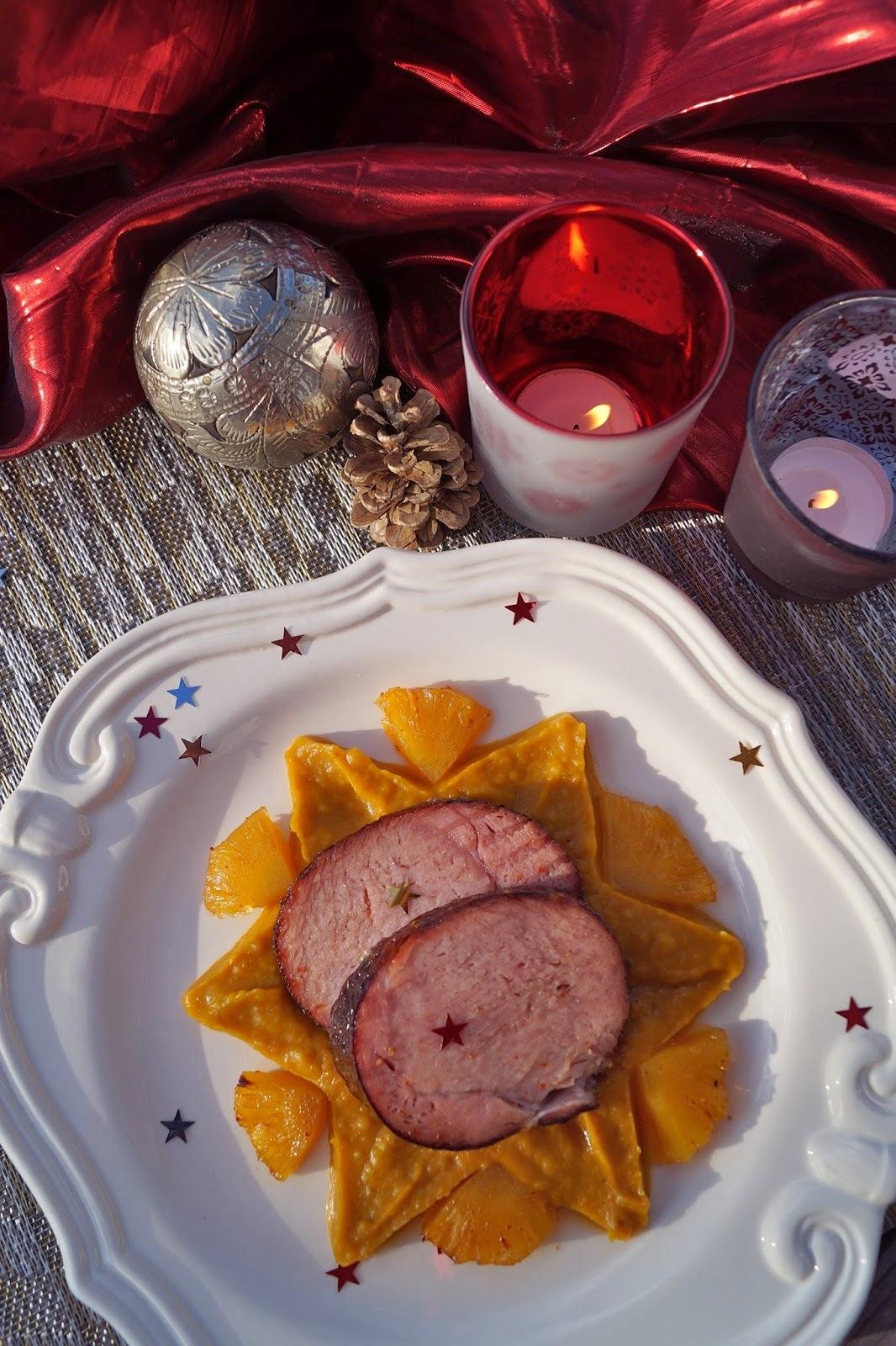 Rôti de porc fumé à l'ananas façon jambon de Noël antillais