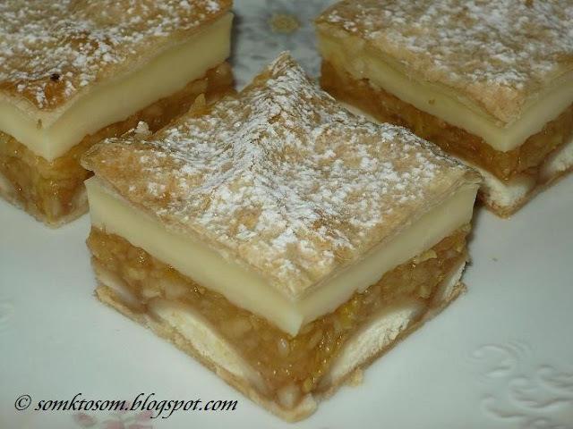 Jablkový koláč z lístkového cesta s pudingom