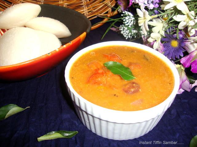 Instant Tiffin Sambar / Tiffin Sambar Recipe / A Quick Sambar Without Thur Dal