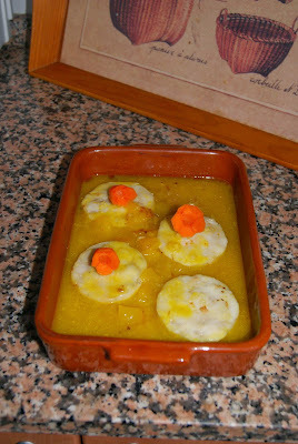 Merluza en salsa de naranja y mango