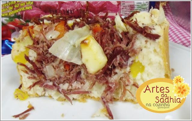 Torta de Carne seca e queijo  de coalho da Balkis  sem lactose