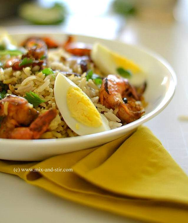 Prawn Biryani ( Spiced Rice with Prawns )