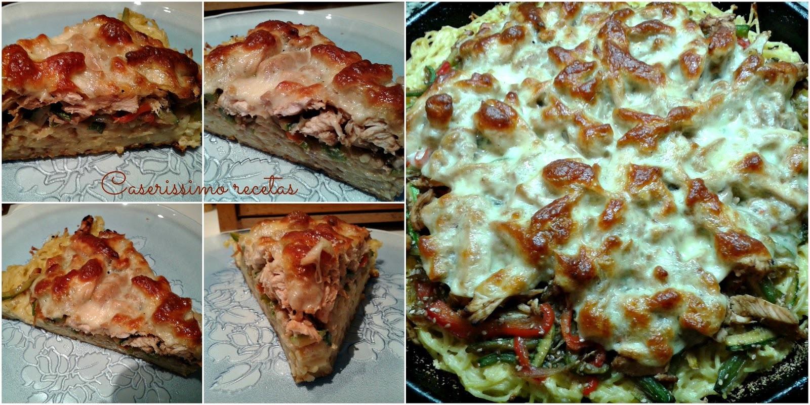 PIZZA DE  POLLO, VEGETALES Y... SPAGHETTIS!!!!