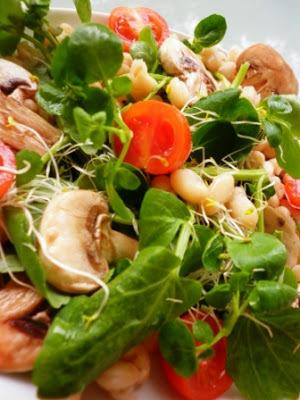 Ensalada de berros, alfalfa, tomates y champiñones