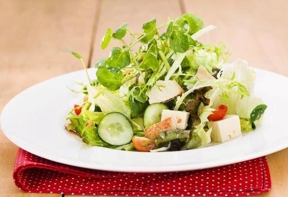 Salada Light com Iogurte, Mel e Pão Sírio