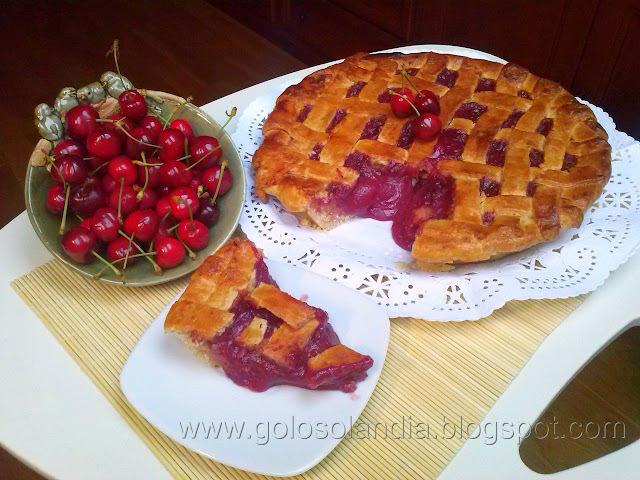 Tarta de cerezas y arándanos (tipo linzer)  Receta casera