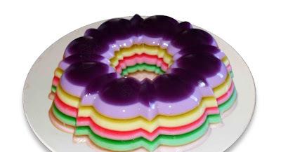 de pudim gelado com gelatina colorida