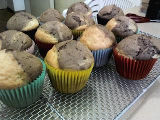 Muffins de vainilla y cacao