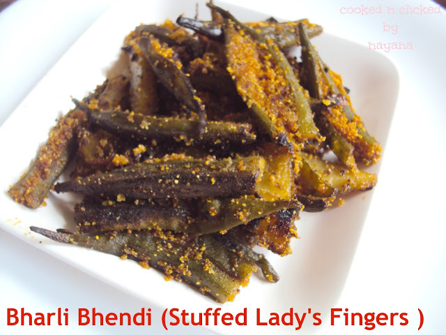 Rawa Bharli Bhendi ( Lady fingers stuffed with spicy semolina)