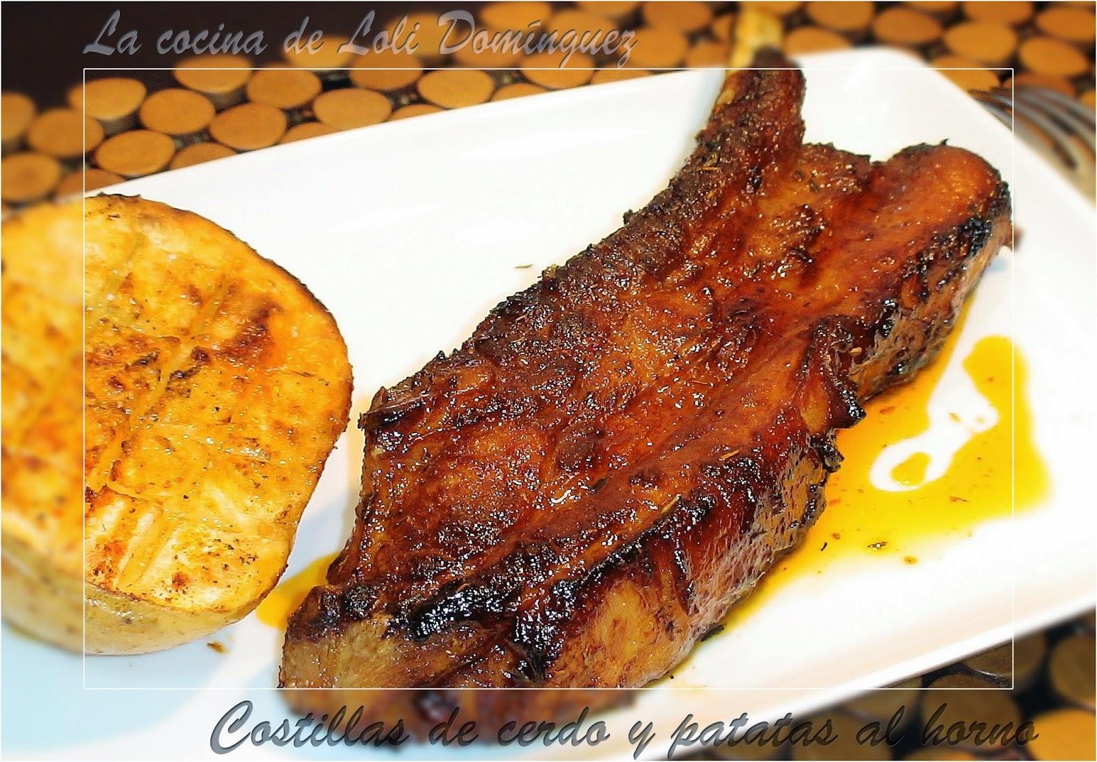 Costillas de cerdo y patatas al horno