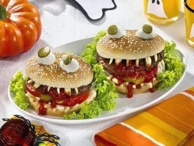 Hambúrguer-vampiro de Halloween