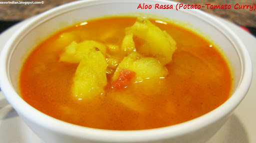 Aloo Rassa Recipe (Potato-Tomato Curry)/Batataycha Rassa