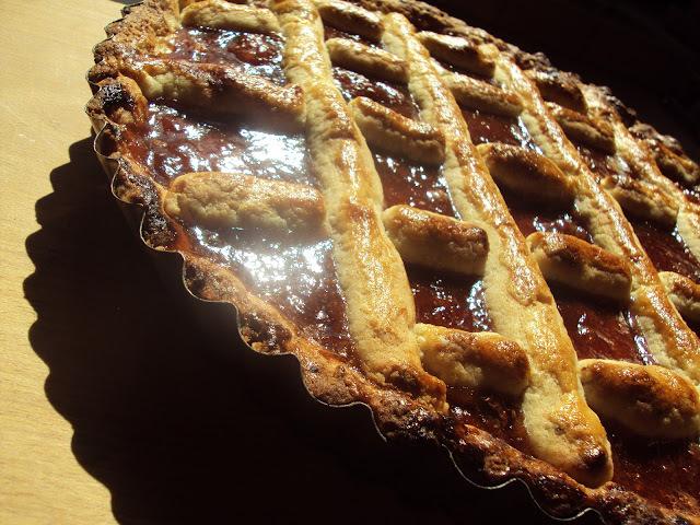 Linecký koláč s jahodovým džemom