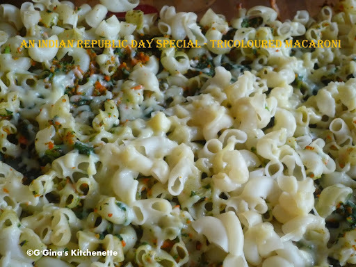 Tri-coloured Macaroni - Cheesy Baked Macaroni with Spinach and Carrots - An Indian Republic Day special