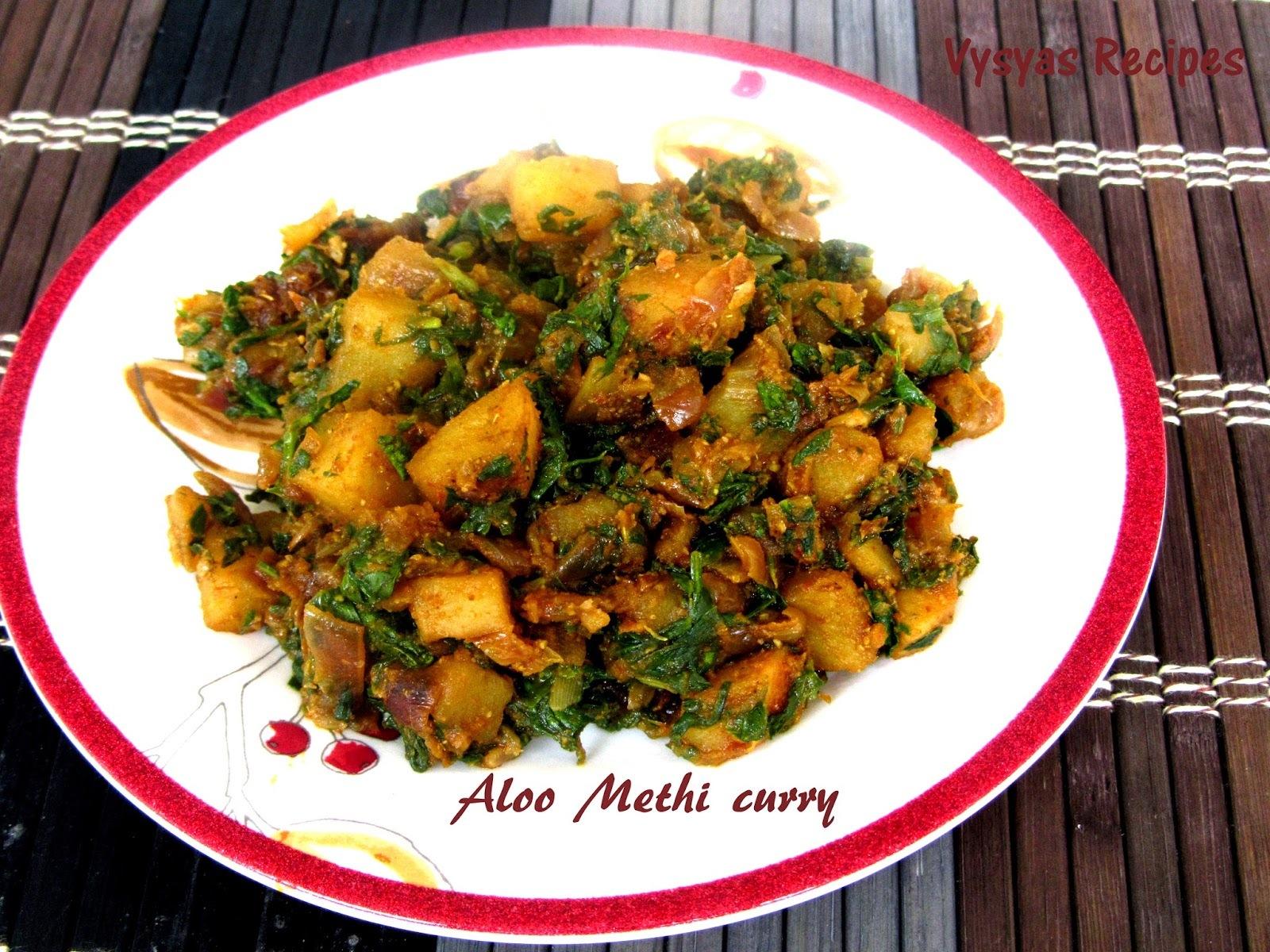 Aloo methi sabzi recipe - Aloo Methi Curry Recipe - Potato With Fenugreek leaves