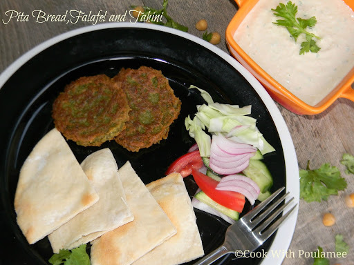 Pita Bread, Pan Fried Falafel and Tahini Sauce: A Mediterranean Platter