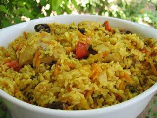 arroz com frango desfiado e cenoura