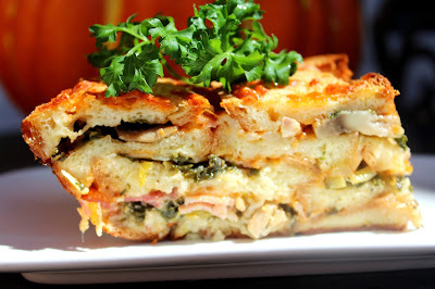 Složenac od hleba, lisnatog kelja i šampinjona / Bread,kale and mushrooms casserole