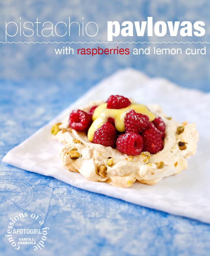 { a breath } conquering meringue & { a bite } pistachio pavlovas with raspberries and lemon curd