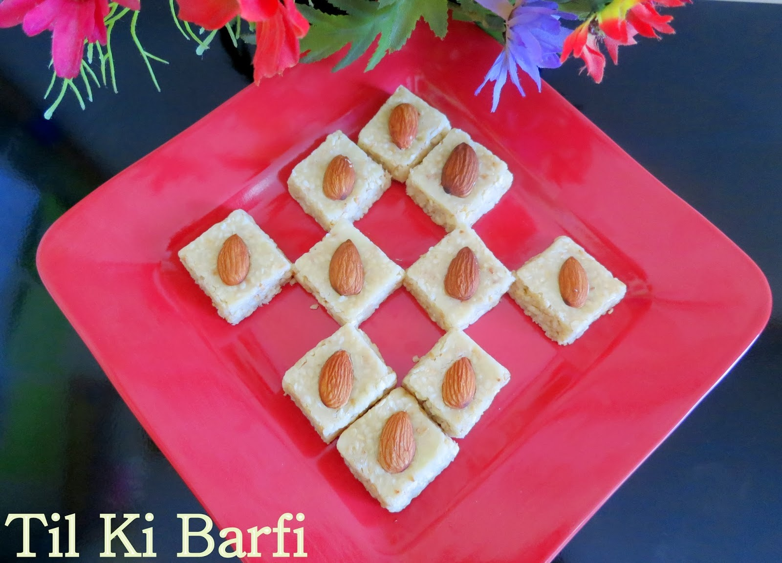 Til ki barfi using Milk Powder