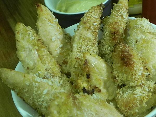 de frango empanado na maionese e na farofa