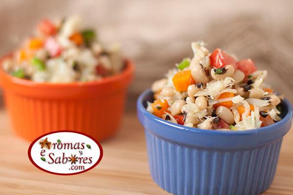 Receita de salada de feijão fradinho com bacalhau
