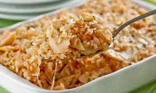 arroz de forno com bacalhau e legumes