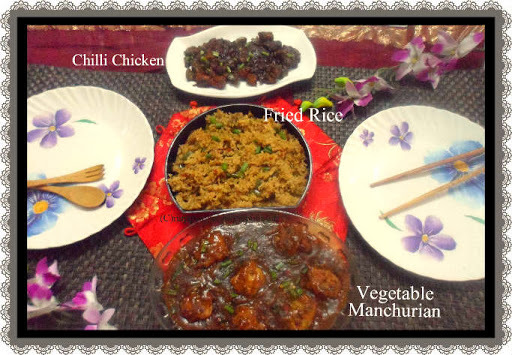 Valentine's Day dinner ~ Vegetable Manchurian, Chilli Chicken and Fried Rice