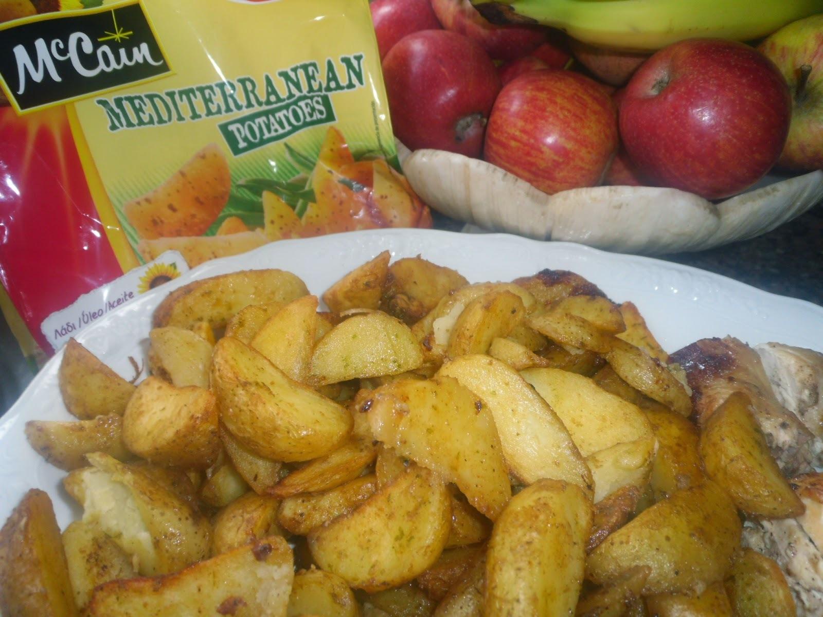 Frango assado no forno com molho de leitão e Potatoes McCain Mediterranean
