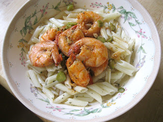 Jumbo prawns and pasta