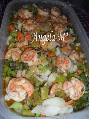 de saladas frias de camarão