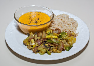 Meal for Aji: Sweet Potato-Ginger Soup, Soft Curried Vegetables, Brown Basmati Rice