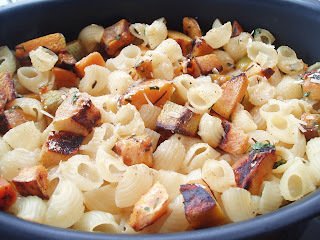 Macarrão com queijo e abóbora