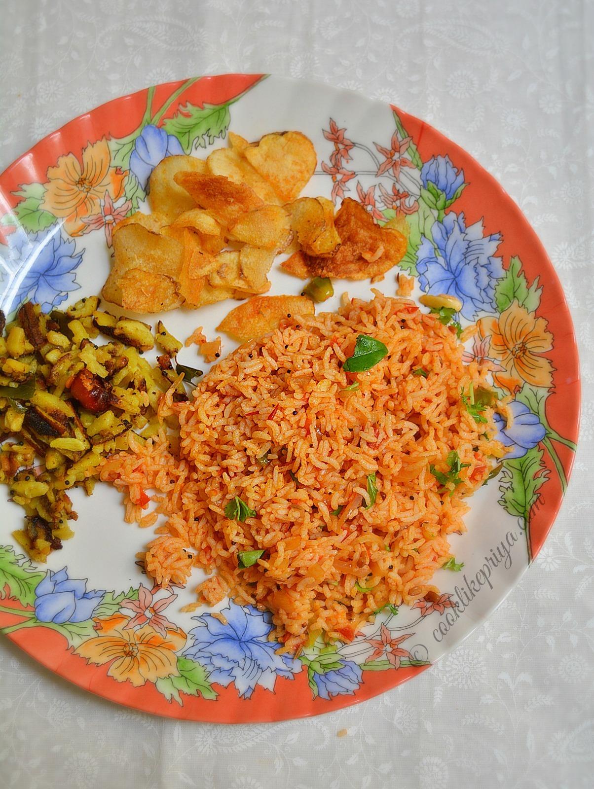 Tomato Rice | South Indian Thakkali Sadam | Tamil Variety Rice