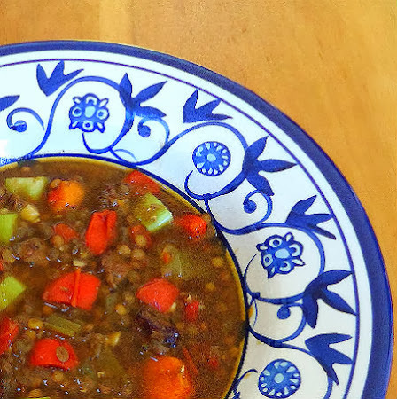 Frugal Foodie Friday  - Slow Cooker Lentil Soup with Beef and Red Pepper