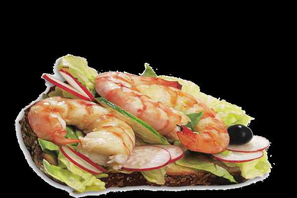 Sanduíche de camarão e rabanete