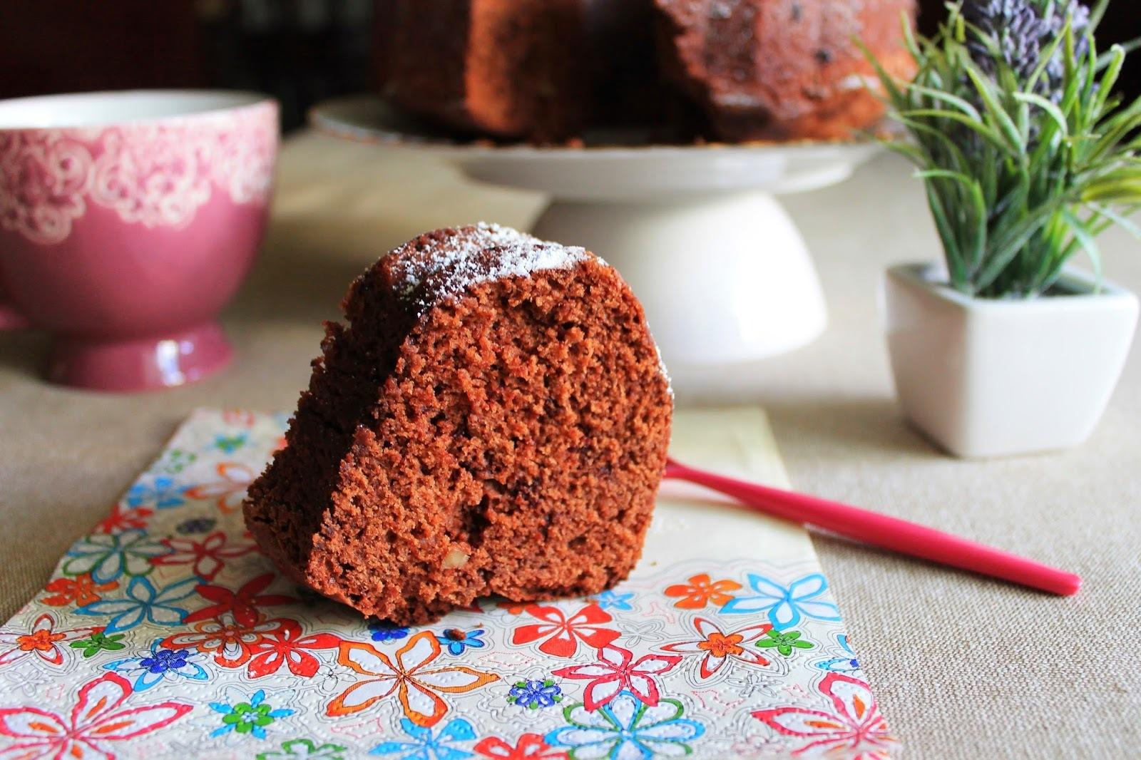 Bundt cake de chocolate con nueces {sin lactosa}