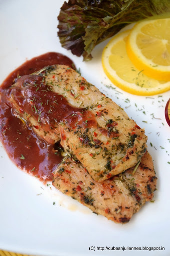 PAN SEARED HERBED FISH FILET WITH PLUM SAUCE